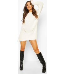 cuff detail fisherman sweater dress, ivory