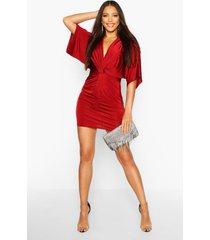 disco slinky twist front mini dress, wine