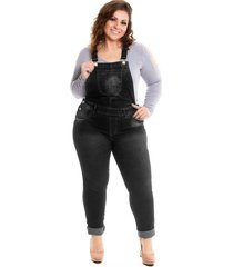 jardineira jeans preta longa lavanda e alecrim