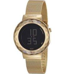 relógio mondaine digital 42mm aço feminino