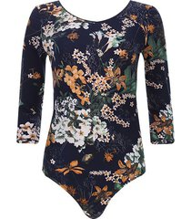 body azul floral color azul, talla 10