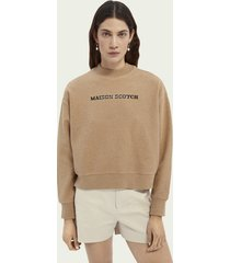 scotch & soda relaxed fit grafische sweater met hoge hals