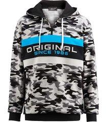 sweatshirt men plus grijs::zwart