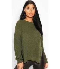 petite side split tunic sweater, khaki