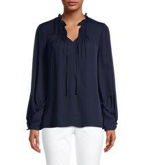 kobi halperin women's devon ruffle-trim silk blouse - midnight blue - size xs