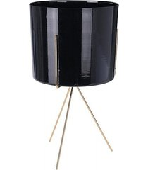 kwietnik metalowy osłonka na stojaku czarna 22 cm