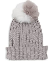 dyed fox fur pom pom hat