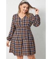 mini vestido de manga larga a cuadros con cuello en v y talla grande
