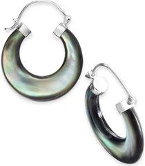 black mother-of-pearl hoop earrings in sterling silver