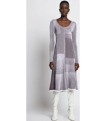 proenza schouler patchwork knit dress white/bordeaux l