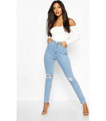 high waist distressed skinny jeans, light blue