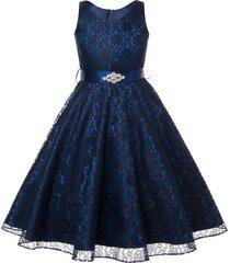 navy blue sleeveless lace v-neck flower girl prom birthday wedding formal dress