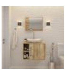 conjunto para banheiro gabinete com cuba folha l38 e espelheira soft 600 carvalho