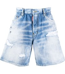 dsquared2 rainbow embroidered denim shorts - blue