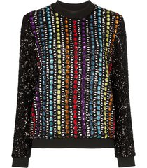 mary katrantzou magpie sequinned sweatshirt - black