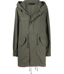 mr & mrs italy drawstring detail hooded parka coat - green