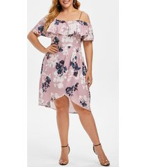plus size flower print cold shoulder flounce tulip dress