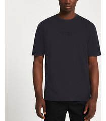 river island mens black 'l'equipe paris' embroidered t-shirt