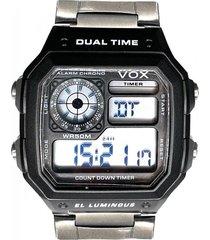 reloj digital  retro negro /cromado vox