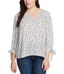 cece plus size ditsy-print tie-sleeve top