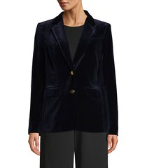 velvet button-front blazer