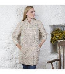 ladies one button aran coat beige medium