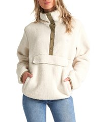 women's billabong switchback fleece pullover, size large - ivory