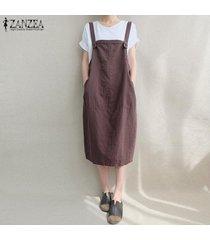 zanzea mujeres sin mangas del chaleco de las tapas con tiras de gran tamaño midi el traje de vestido del delantal -marrón