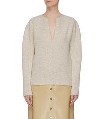 split neck cashmere wool blend felt sweater