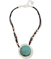 robert lee morris soho tri-tone black leather sculptural pendant necklace