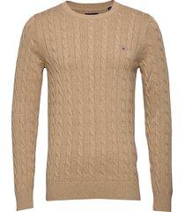 cotton cable crew stickad tröja m. rund krage beige gant