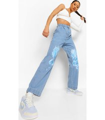 gesplitste boyfriend jeans met vlammen, mid blue
