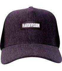 boné hardivision aba curva  logo branco cinza