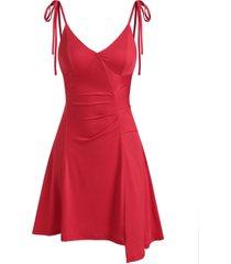 asymmetric lace up slip v neck dress
