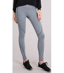 calça legging feminina esportiva ace com pespontos cinza mescla