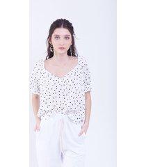 blusa blanca donadonna liz lunares