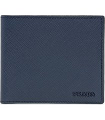 prada saffiano leather wallet - blue