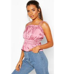 petite ruched waist satin top, rose