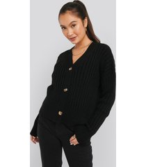 na-kd mohair blend chunky cropped cardigan - black