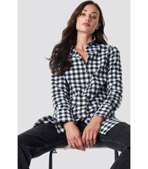 rut&circle check long shirt - black,multicolor