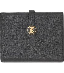 burberry monogram-motif folding wallet - black