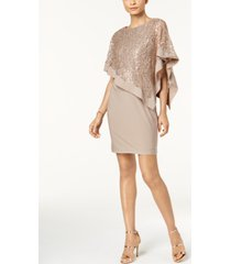 r & m richards petite sequined cape sheath dress