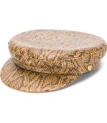 manokhi snakeskin-print greek fisherman hat - brown