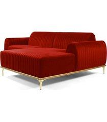 sofá 3 lugares com chaise esquerdo base de madeira euro 230 cm veludo vermelho gran belo