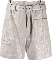 brunello cucinelli pale gold linen shorts