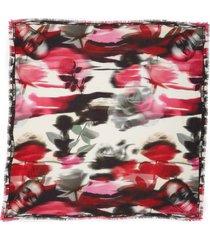 women's alexander mcqueen warped rose modal & wool scarf, size one size - red