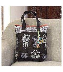 batik cotton tote, 'midnight grace' (india)