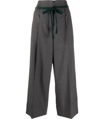 odeeh tie-waist cropped wide-leg trousers - grey