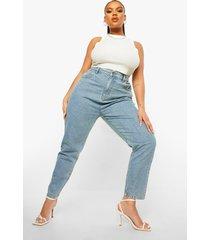 plus high rise mom jeans, light blue