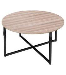 mesa de centro redonda tijuca carvalho e preta